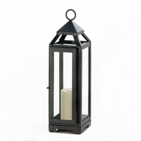Candle Lantern Outdoor, Decorative Rustic Tall Slate Black Metal Candle Lantern