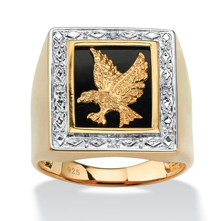 Men's Onyx and Diamond Accent Eagle Ring in 14k Gold over Sterling Silver ()