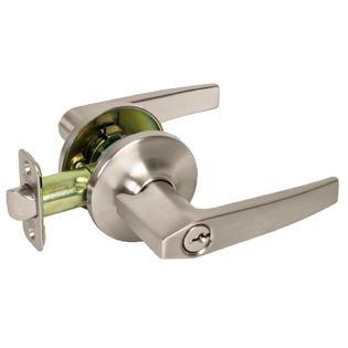 Contemporary Style Keyed Entry Lever Door Handle Lock, Satin Nickel