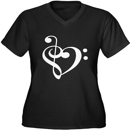 CafePress Women's Plus-Size Musical Heart Graphic T-shirt