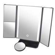 Lighted Vanity Makeup Mirror, DUcare Lighted Vanity Mirror 10x+1x/2x/3x Magnification Tri-fold with Touch Screen