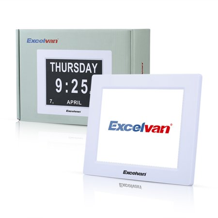 Excelvan 8  Led Digital Calendar Day Clock Extra Large Time Day Week Month Auto Dimming