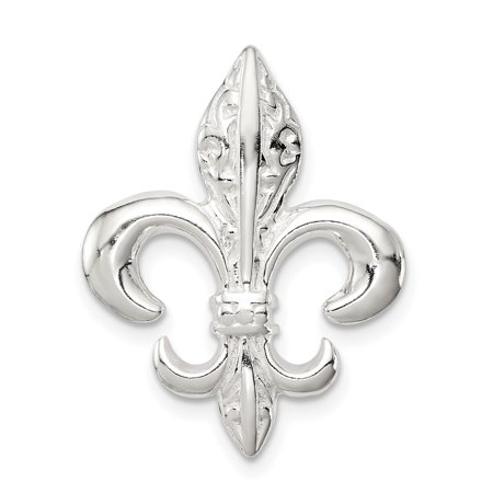 925 Sterling Silver Fleur De Lis Slide Pendant