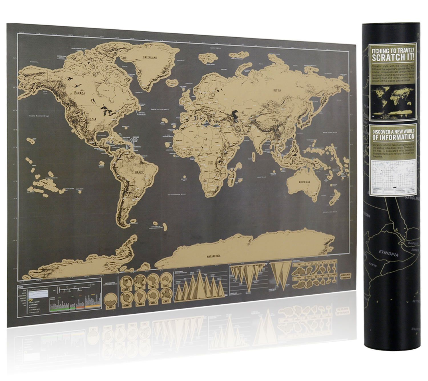 LARGE SCRATCH OFF WORLD MAP POSTER PERSONALIZED TRAVEL VACATION LOG GIFT PAINT