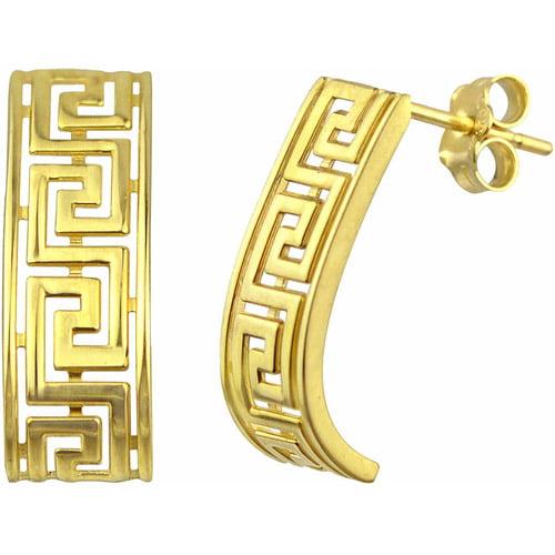 US GOLD 10kt Gold Greek Key J-Hoop Earrings by U.S. Gold Trading