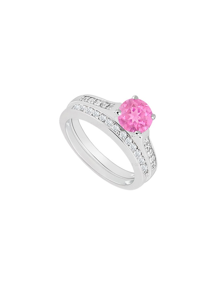 14K White Gold Created Pink Sapphire and Cubic Zirconia Engagement Ring with Wedding Band Set 0. by Love Bright