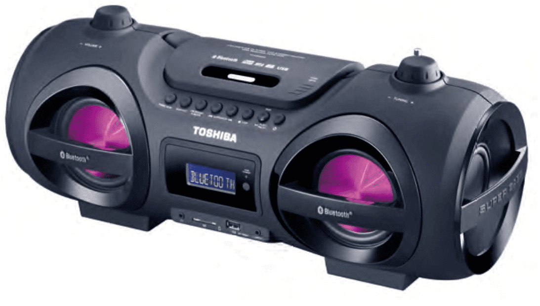 Toshiba TY-CWU500 Wireless Bluetooth Boombox Speaker: Portable CD Boombox with FM Radio, Remote & LED Lights by Toshiba