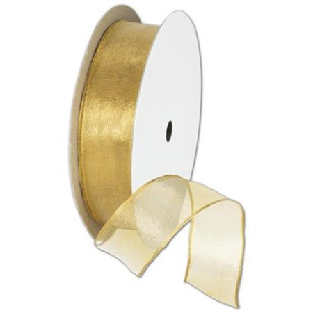 0.88 in. x 15 yds. Wire Edge Magic Wand Ribbon, Gold (Gold Ribbon Wands)