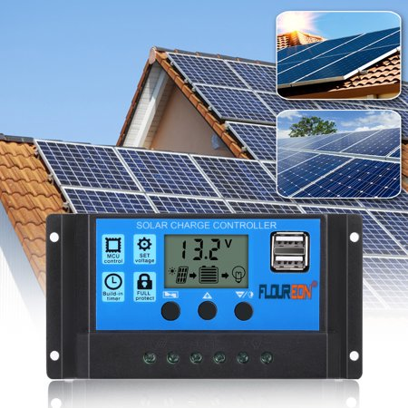 FLOUREON 30A Solar Charge Controller, Solar Panel Battery Intelligent (Panel Controller)