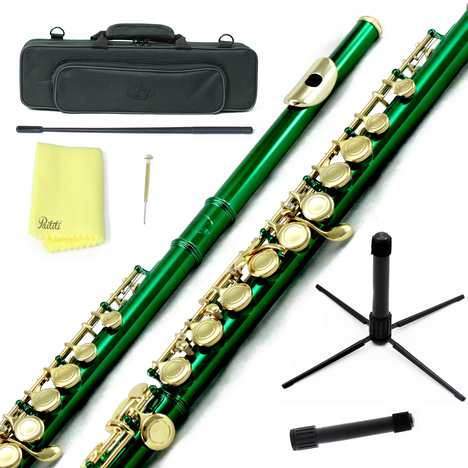 Sky Closed Hole C Flute with Lightweight Case, Cleaning Rod, Cloth, Joint Grease and Screw Driver - Green Gold