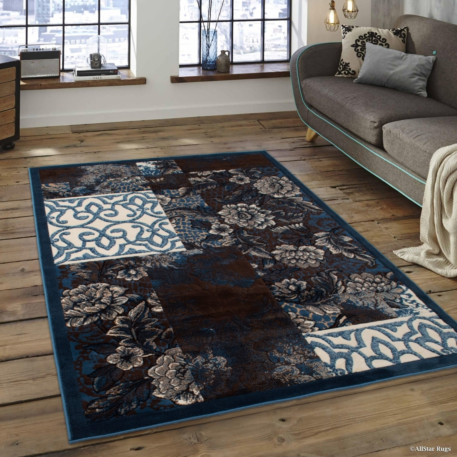 "Allstar Rugs Allstar Aqua Blue Assorted Abstract Floral Traditional Rug - 7' 1"" x 5' 2"""
