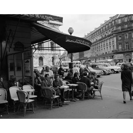 1960s Patrons At Cafe De La Paix Sidewalk Cafe Corner Of Paris Opera House In Background Paris France Print By Vintage
