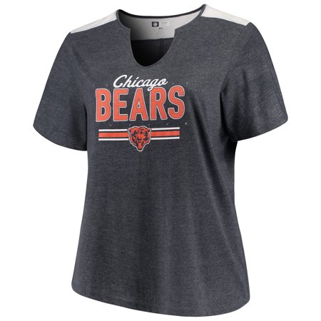 Women's Majestic Heathered Navy Chicago Bears Notch Neck Plus Size -