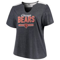 Product Image Women s Majestic Heathered Navy Chicago Bears Notch Neck Plus  Size T-Shirt ff3e67c09