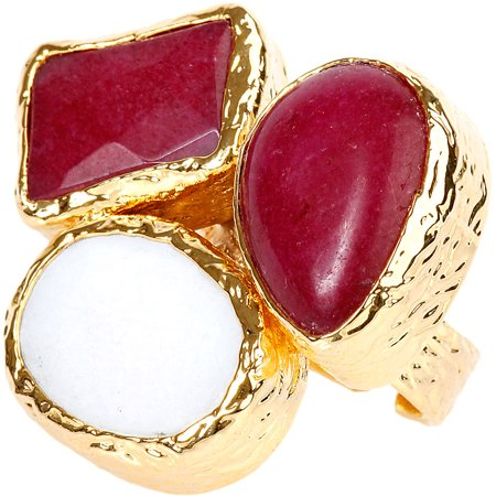 ELYA Gold-Plated Dyed Red Chalcedony and Mother of Pearl Cluster Ring