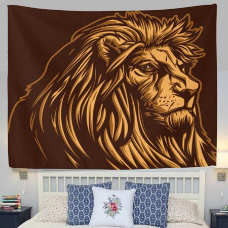 - POPCreation African Continent Art Wildlife Lion Brown Fabric Tapestry Throw Dorm bedroom Art Home Decor Tapestry Wall Hanging 40x60 inches