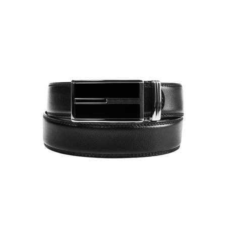 DG HillMens Designer Leather Dress Belt With Sliding Ratchet Automatic Buckle