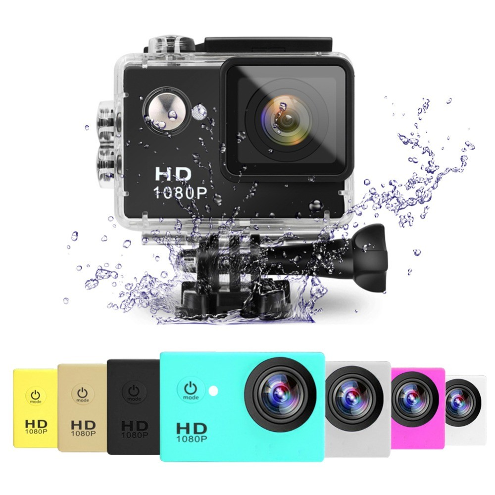2x Gold Sports Action Camera 1080p HD Waterproof with Touch Screen LCD POV Adventure Camcorder with Accessories GoPro SJCAM Style