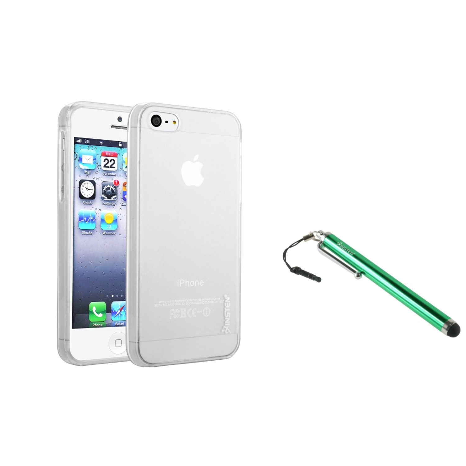 Insten Brand Clear Frost White TPU Rubber Gel Case For iPhone 5S 5+Green Stylus