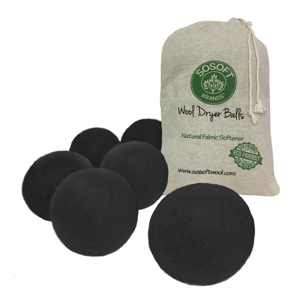 Wool Dryer Balls 100% Premium So Soft Wool Dryer Balls XXL Hand Made in Nepal All Natural Eco Friendly All Natural Fabric Softener (Black), Natural, hypoallergenic.., By SoSoft Ship from US