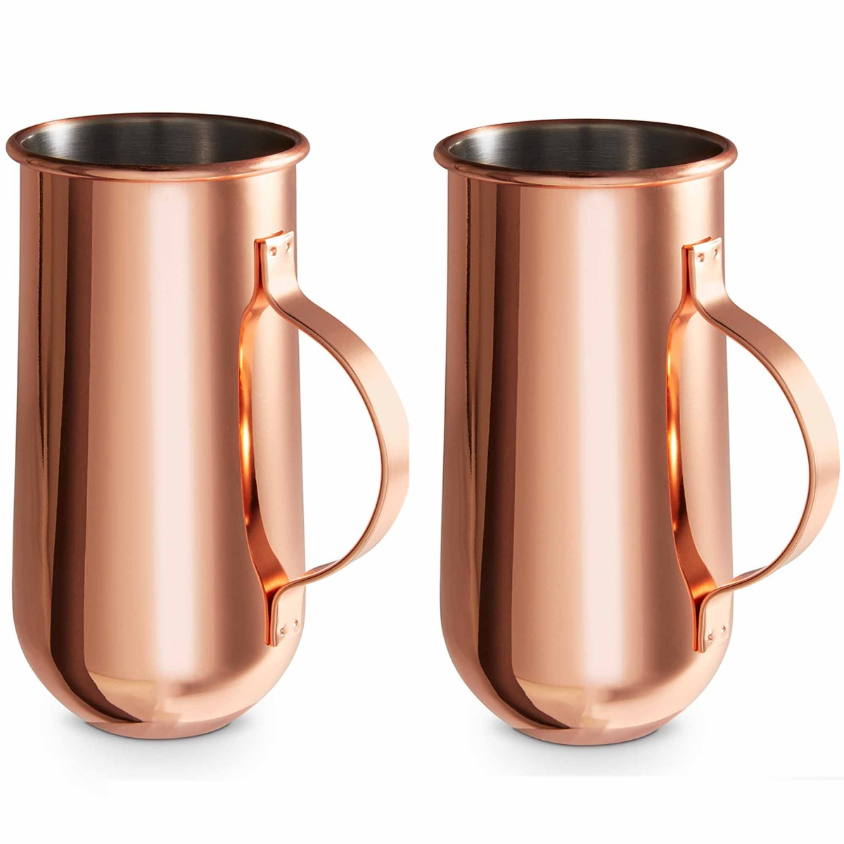 VonShef Set of 2 Copper Mugs with Handle – Ideal for Hot & Cold Drinks, Inc. Latte, Cappuccino & Americano or Cold Brew Coffee, Cocktails & Beer – Perfect Birthday or Housewarming Gift
