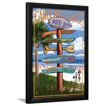 Myrtle Beach, SC - Destination Signs Framed Print Wall Art By Lantern - Framed Art Print Sign
