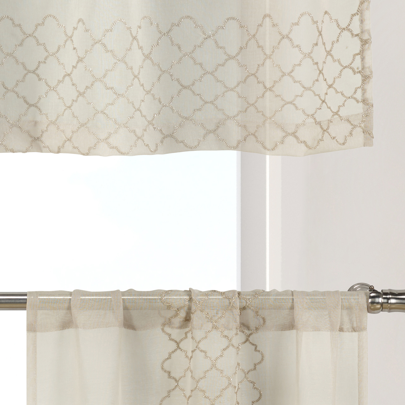 1 Valance 56in W X 15in L Single Bathroom And More Collection Sheer White Window Curtain Valance With Embroidered Metallic Silver Moroccan Trellis Design Valances Tiers Swags Valances