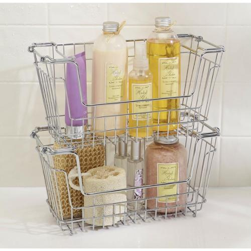 Small Chrome Stackable Storage Basket
