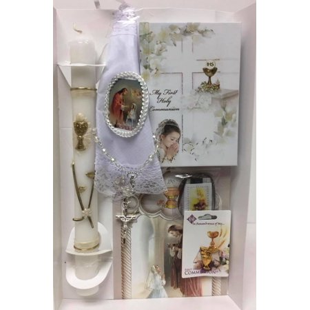 My First Holy Communion Gift Set - Handkerchief Rosary Candle (First Holy Communion Set)