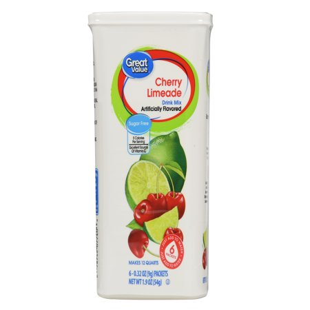 Great Value Sugar-Free Cherry Limeade Drink Mix, 1.9 Oz., 6 Count