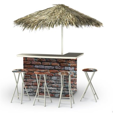 Best of Times 2003W2403P London Brick Palapa Portable Bar with 6 ft. Square Umbrella,