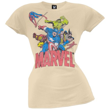 Marvel - 6 Heroes Tan Juniors T-Shirt - Marvel Heroes Womens