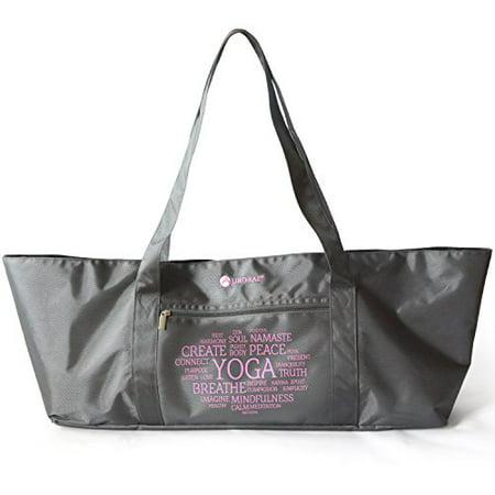 tapis de yoga sac fourre-tout extra large pour tenir la plupart des tapis de yoga et accessoires en gris Heavy Duty Polyester