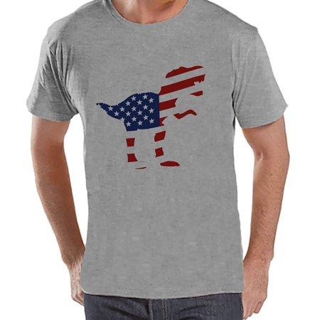 Custom Party Shop Men's American Flag Dinosaur 4th of July Grey T-shirt - Small