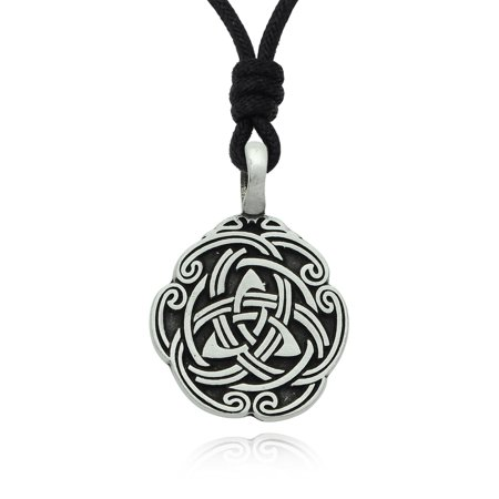 Celtic Trilogy Shield Silver Pewter Charm Necklace Pendant Jewelry With Cotton Cord