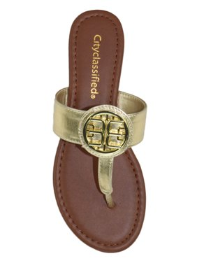 93a8c90c6cba71 Product Image Newton Basic Thongs Flip Flops City Classified Shoes Women  Gold Medallion Flat Summer Sandals Gold Patent