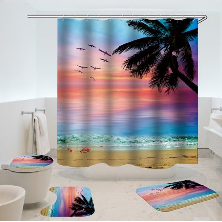 1/3/4 Pieces Waterproof Bathroom Shower Curtain Toilet Cover Mat Non-Slip Rug Set - image 4 of 4