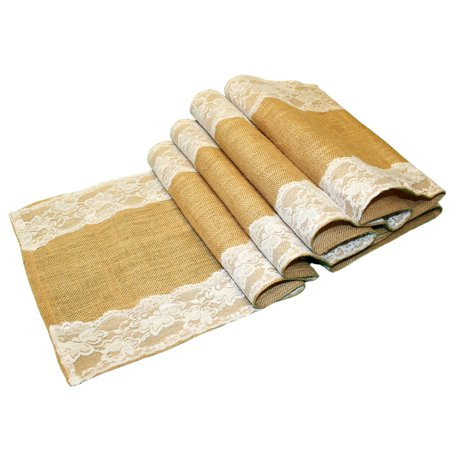 Jons Imports Burlap Table Runner Natural Jute Lace Hessian Outdoor Wedding Party Décor