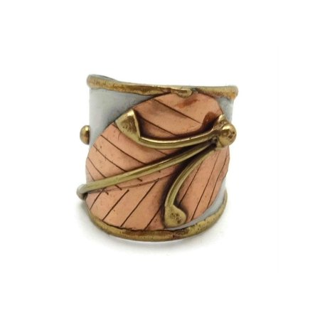 Welded Mixed Metal CUFF RING, Copper Leaf Design, One Size, by Anju