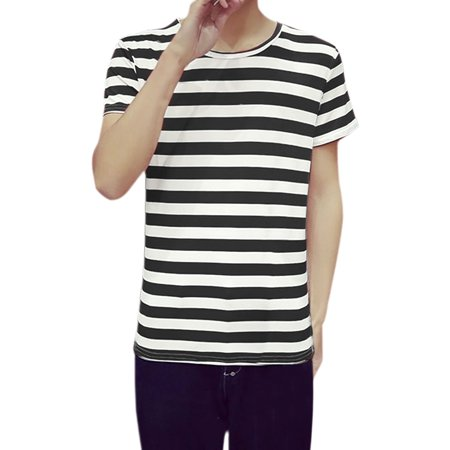 Unique Bargains Men Crew Neck Stripes Short Sleeves Tee Shirt