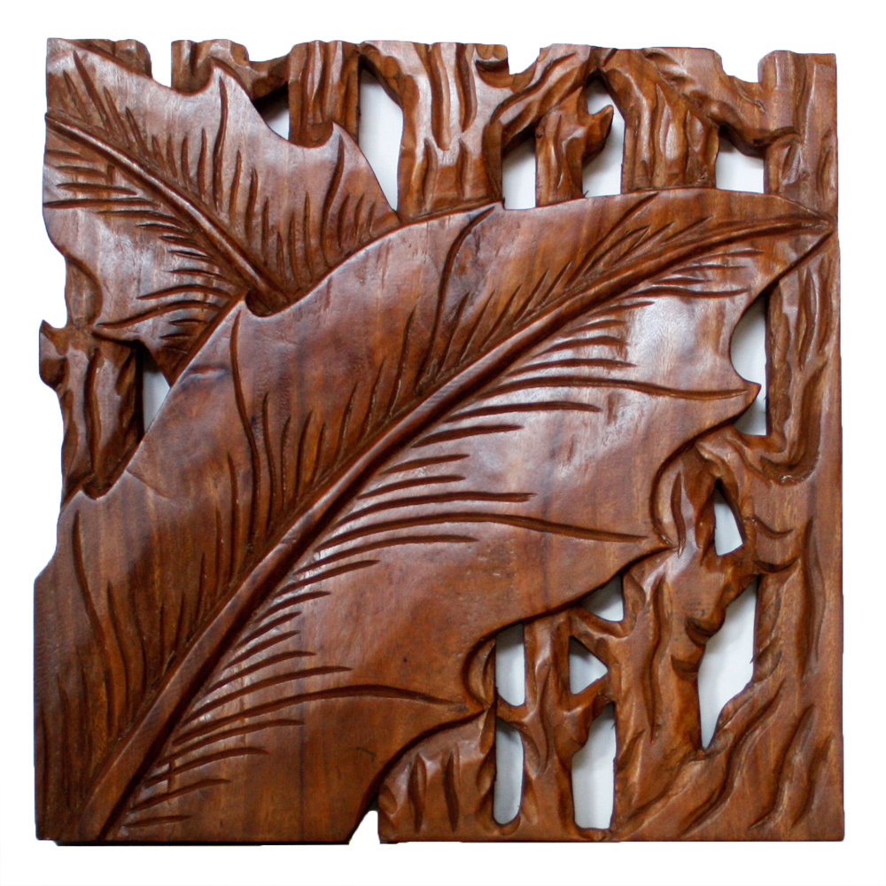 Haussmann Hand-carved Autumn Leaves 18 x 18 Wall Panel Set  , Handmade in Thailand