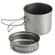 1100ML / 1600ML Titanium Pot Pan Set Super Lightweight Camping Cookware Set Portable Cooking Tool with Folding Handle