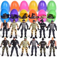 12 PCs Soldier Toys Filled Easter Eggs with Assorted Take Apart Toys, Poseable Soldier Action Figures Army Toys, Easter Basket Stuffers for Kids Party Favors F-598