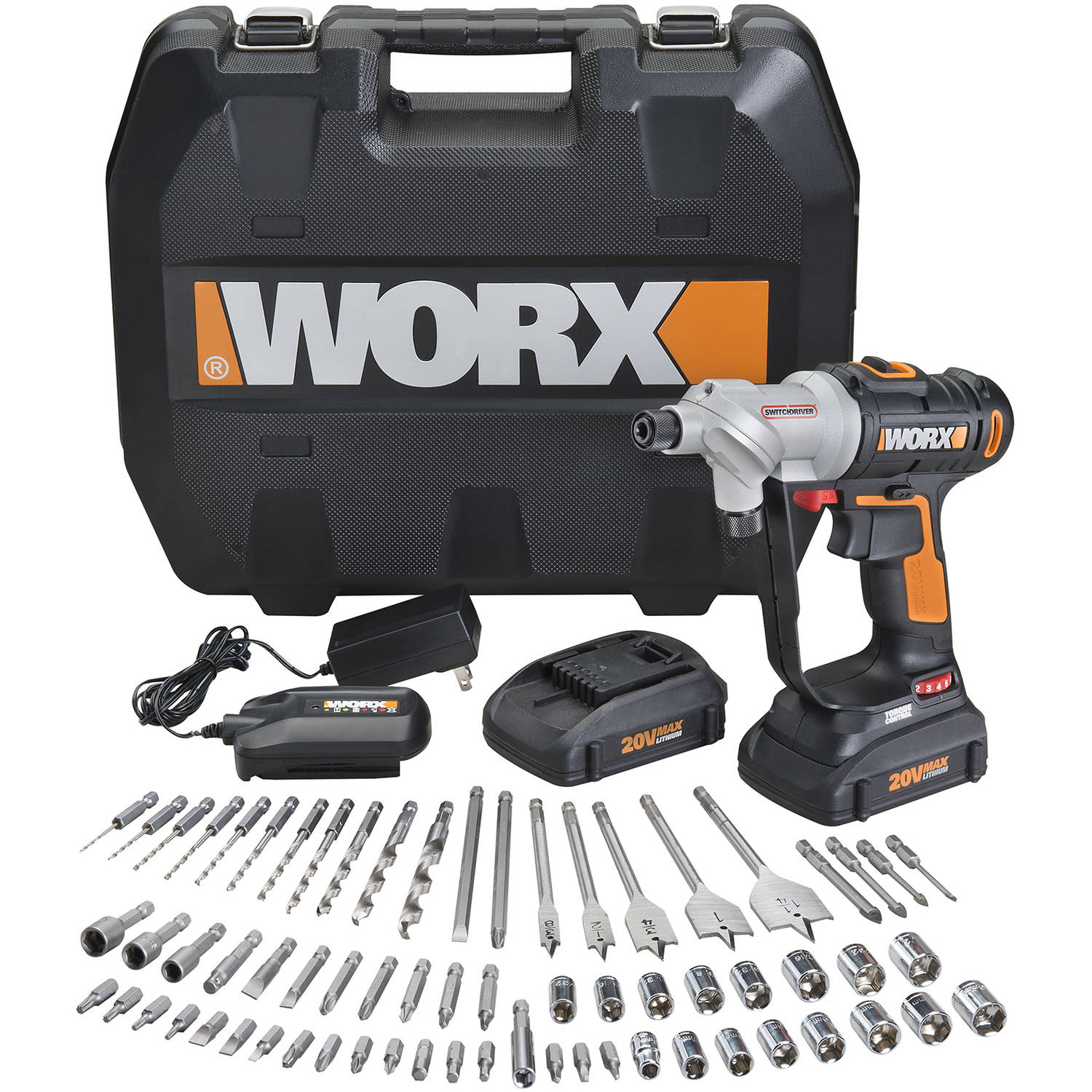 WORX 20-Volt Max* Power Share, Switchdriver Drill-Driver With 67-Piece Accessory Kit, Hex Quick, WX176L.1,