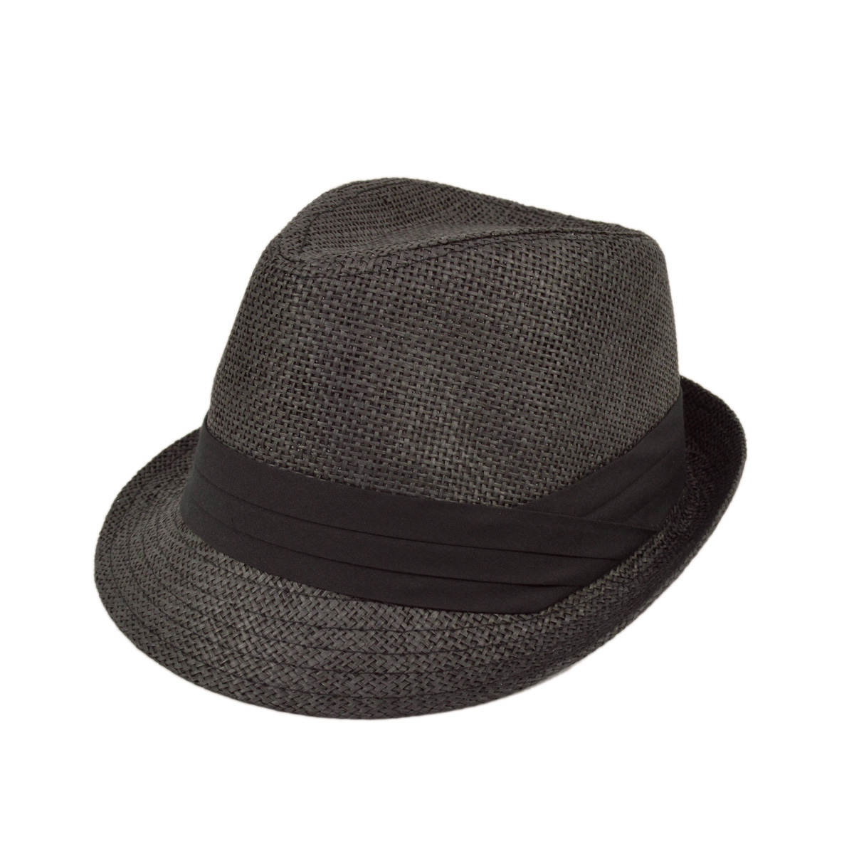 eca4ecd161 Unisex Classic Fedora Straw Hat with Black Cotton Band
