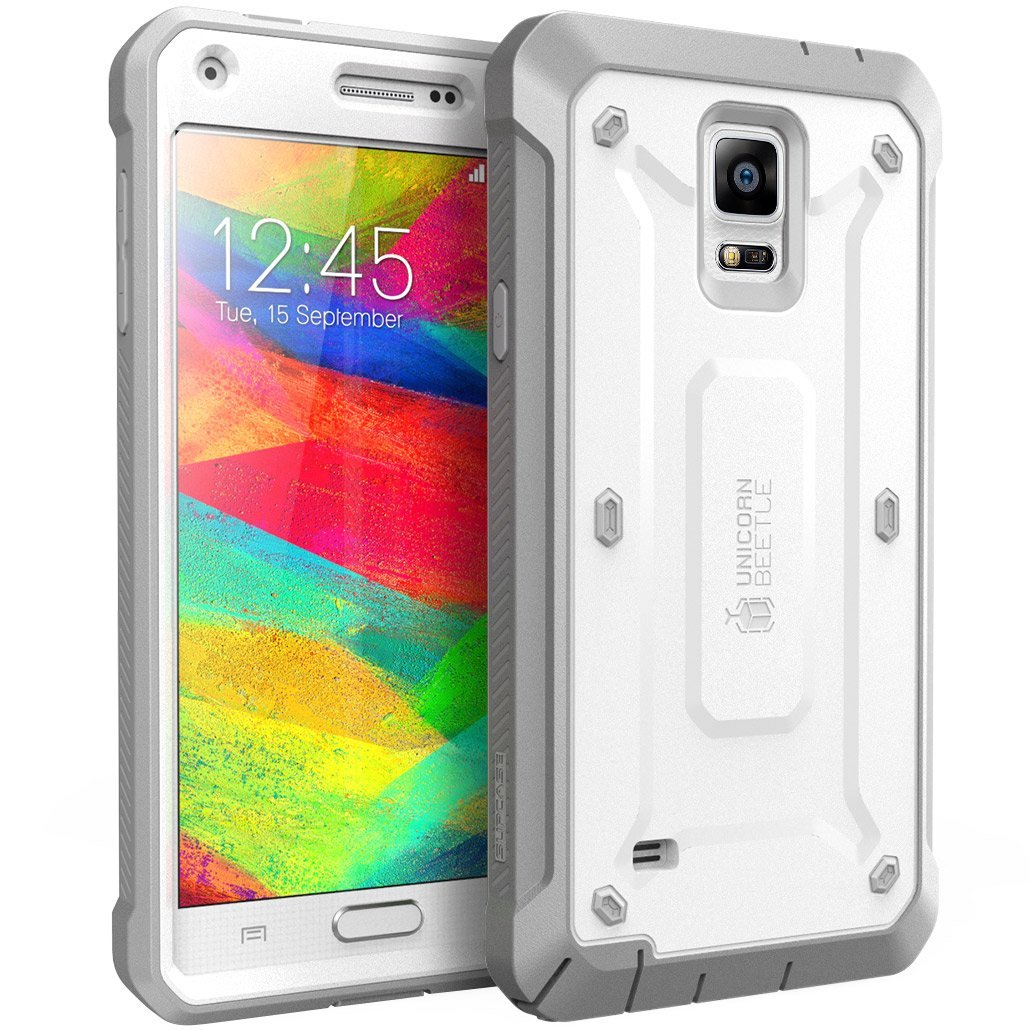 SUPCASE Galaxy Note 4 Case - Unicorn Beetle Pro Series Protective Cover with Built-in Screen - White Gray