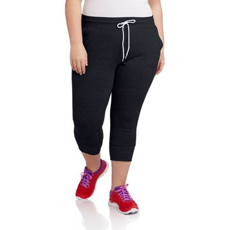 Danskin Now Women's Plus Size Sport Tweed Jersey Capri Jogger Pant