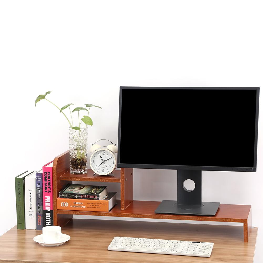 YOSOO Computer Monitor Riser Monitor Stand Computer Laptop Monitor Riser Stand Desktop Wooden Storage Organizer Shelf (Red Walnut)