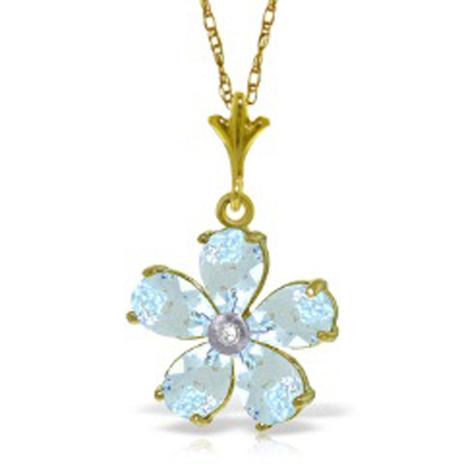ALARRI 2.22 Carat 14K Solid Gold Necklace Natural Aquamarine Diamond with 20 Inch Chain Length. by ALARRI