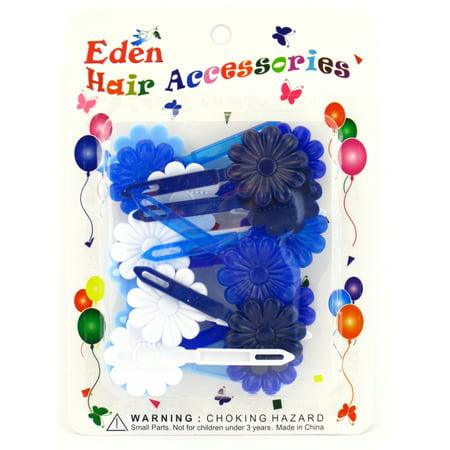 Girls With Blue Hair (Eden Girls Self Hinge Flower Plastic Hair Barrettes - Blue & White - 18)